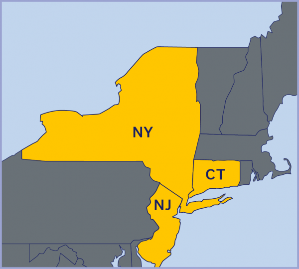 Map of Northeast USA with NY, CT, and NJ highlighted.