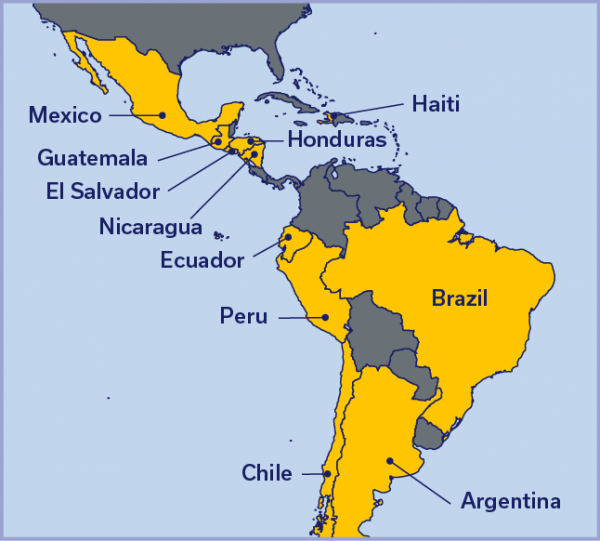 Map of Latin America with Mexico, Guatemala, Haiti, Honduras, Nicaragua, Brazil, Peru, Ecuador, Chile, and Argentina highlighted.