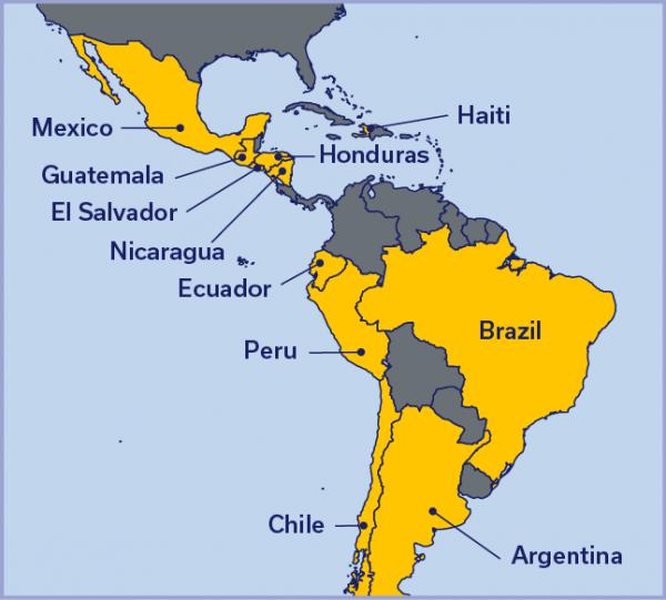 Map of Latin America with Mexico, Guatemala, Haiti, Honduras, Nicaragua, Brazil, Peru, Ecuador, Chile, and Argentina highlighted.