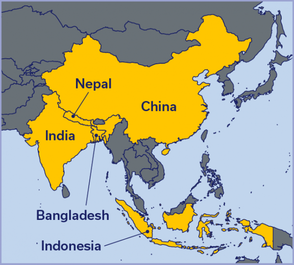Map of South Asia with India, Bangladesh, Nepal, China, and Indonesia highlighted.