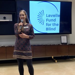 A Lavelle-Brother Kearney Scholar speaking at an event