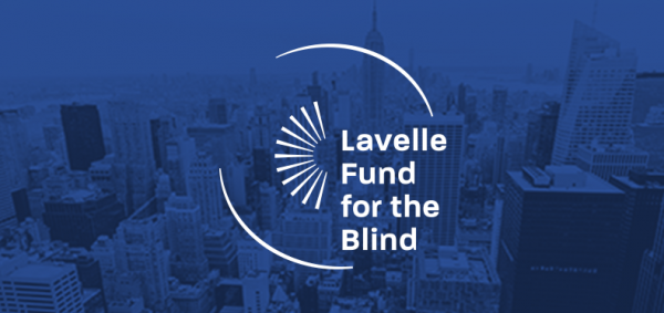 Lavelle Fund for the Blind logo on top of an image of New York City skyline.