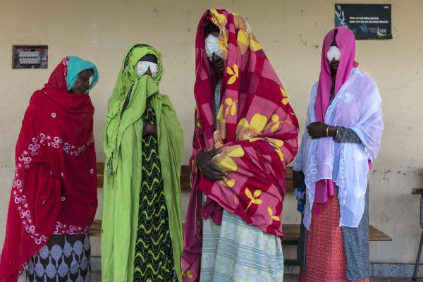 Buno Gemsu, Momina Wedeso, Kedija Abino, Genet Kufa and Shege Beshir Safao (left to right) are from the same community in Shashamane and received trichiasis surgery together. They're back at the clinic for a postoperative follow-up with the trichiasis surgeon. People are often still fearful of the surgery and being operated at the same time as their friends and neighbors helps allay their individual fears. Additionally, offering surgical services in the community encourages uptake.